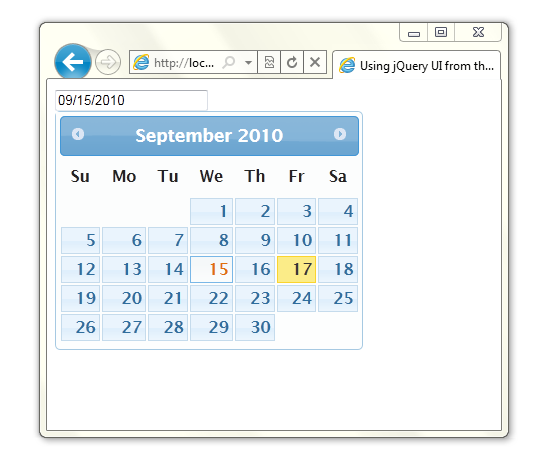 Popup calendar created with Datepicker